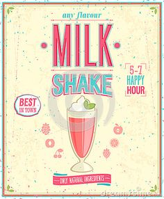 Vintage MilkShake Poster. by Avian, via Dreamstime