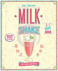 Vintage MilkShake Poster. by Avian, via Dreamstime