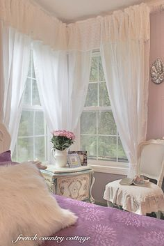 French country cottage: lavender bedroom