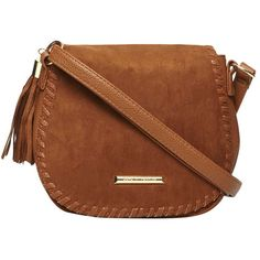 Dorothy Perkins Tan Whipstitch Saddle Bag (£28) ❤ liked on Polyvore featuring bags, handbags, shoulder bags, brown, tan handbags, tan purse, brown saddle bags, brown shoulder bag and brown saddle bag purse
