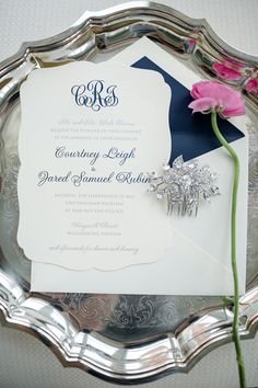 classic navy monogram invitation | Katelyn James #wedding Wedding Pins, Wedding Paper, Our Wedding, Dream Wedding, Wedding Ideas, Party Wedding, Wedding Reception Food, Wedding Weekend, Wedding Programs