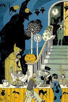 "A Halloween Party -- vintage Child Life Halloween illustration......... Love this. | ""When the bats like ghosts are gliding, witches soar, on broomsticks riding, jack-o-lanterns twinkle, grinning. Our Halloween revelry will be just beginning!"" ~Michael Guerrero"