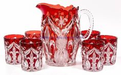 Bryce Higbee & Co. Green Coffee Cups, Liquor Glasses, Carnival Glass, Antique Glass, Shades Of Red, Colored Glass, Glass Art, Teapots, Stained Glass