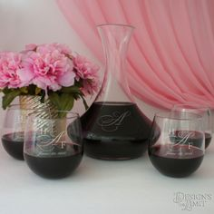 Couples Monogrammed Sand Carved Wine Carafe with Font Selection & OPTIONAL Engraved Stemless Wine Glasses with Couple's Monogram Options by DesignstheLimit #TrendingEtsy