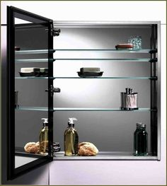 Glass Shelves: Three Types for the Home - Decor Ideas Medicine Cabinet Shelves, Glass Shelves, Bathroom Medicine Cabinet, Bar Areas, Glass Replacement, Decor Ideas, Home Decor, Black, Homemade Home Decor