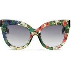 Linda Farrow Designers Collection x Erdem floral garden print acetate... ($405) ❤ liked on Polyvore featuring accessories, eyewear, sunglasses, glasses, acetate glasses, floral sunglasses, cat eye sunglasses, cateye sunglasses and floral print sunglasses
