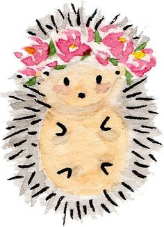 'Flower crown hedgehog' Sticker by MyLastHigh - Sketches - Watercolor Animals, Watercolor Flowers, Simple Watercolor, Tattoo Watercolor, Watercolor Landscape, Watercolor Background, Abstract Watercolor, Easy Watercolor Paintings, Kids Watercolor