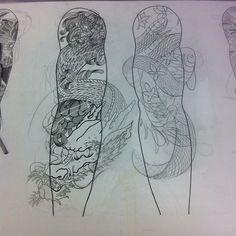 Japanese tattoo sleeve, drahon and koi