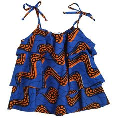 Stella Jean Kids-girls Waves Printed Wax Cotton Top ($210) ❤ liked on Polyvore featuring blue