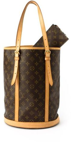 This was my backpack all through college. I need to dust It off and bring it back! vintage Louis Vuitton Brown Monogram Canvas Bucket Gm Vintage Tote - Lyst