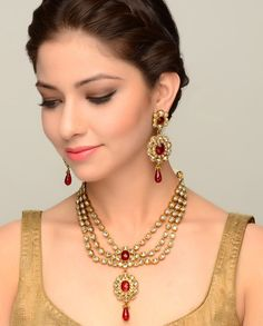 Kundan Stone Encrusted Necklace and Earrings with Red Stone Drops - Exclusively In