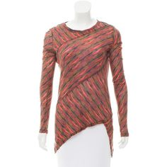 Pre-owned Proenza Schouler Striped Long Sleeve T-Shirt featuring polyvore, women's fashion, clothing, tops, t-shirts, blue, blue striped t shirt, red stripe t shirt, stripe t shirt, longsleeve t shirts and blue t shirt