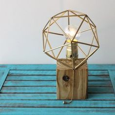 Make an awesome wood block lamp with a geometric icosahedron lamp shade!  Made with pallet wood, lamp kit, straws, wire and paint!