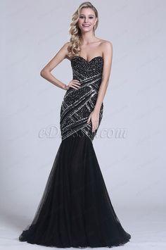 Gorgeous Trägerlos Perlen Schwarz Abendkleid (C36150200)