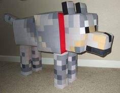 Minecraft Tamed Wolf: added the ears, legs, and tail. Hoorah! Tamed Wolf finished! From tip of noze to end of tail: 48 inches. #Minecraft