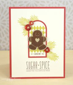 Sugar & Spice Card by Nichole Heady for Papertrey Ink (September Christmas Paper Crafts, Christmas Cards To Make, Christmas Projects, Holiday Cards, Christmas Ideas, Scrapbooking, Scrapbook Cards, Christmas Characters, Card Tags