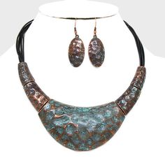 Fitbit Jewelry Set for FitBit Flex - The PERI Antiqued Hammered Copper Patina & Leather Cord Fitbit Necklace and Earrings Set by FUNKtional Wearables