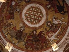 The carousel of the saints riding on the cupola of the underground church of St. Paul. Among them are Sergius and Bacchus.  These were produced by the monastery monks in 1713, but probably overlay earlier iconography that is lost to us. (picture by Tatiana Kiseleva - Russia) See also: http://egyptvistor.blogspot.fi/2011/07/monastery-of-st-paul-in-egypts-eastern.html