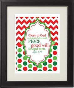 Luke 2:14 Christmas Printable Instant Download Sign by AmplifyDesign, $5.00