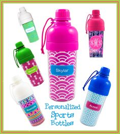 Personalized Sports Bottle - Water Bottle by DesignsbyDaffy on Etsy Monogram Water Bottle, Water Bottle Gift, Custom Water Bottles, Personalized Water Bottles, Back To School Gifts, Don't Give Up, Sports Bottles, Accent Colors, Red And White