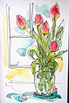 66 New Ideas For Simple Art Drawings Sketches Watercolor Painting Watercolor Sketchbook, Pen And Watercolor, Art Sketchbook, Watercolour Painting, Watercolor Flowers, Fashion Sketchbook, Flowers In Vase Painting, Watercolor Art Lessons, Watercolor Heart