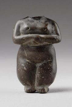 """Stone Neolithic Anthropomorphic """"Idol""""   3500 BC   Anatolian, Mesopotamian. Stylistically, one should notice that the body of this woman is sculpted entirely in the round, which is rather unusual in Neolithic sculpture where the contrast between the lower part of the body, heavy and rounded, and the chest, thinner and less voluminous, was the rule."""