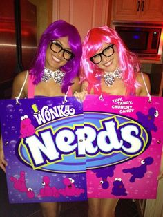 Nerds Box: You'll be on a sugar high with this costume.  What you need to do: Create Nerds boxes by drawing on poster paper. Nerdy glasses and cool wigs also add a nice touch. Source: Imgur user someoneneedsahug
