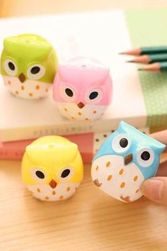 1 Pics Candy Color Cute Owl Kawaii Professional Pencil Sharpener Stationary Cute For School Office Supplies Kids Student Going Back To School, Too Cool For School, Back To School Supplies For Teens, Middle School, School Stuff, High School, Cool Diy, Kawaii, Cool School Supplies