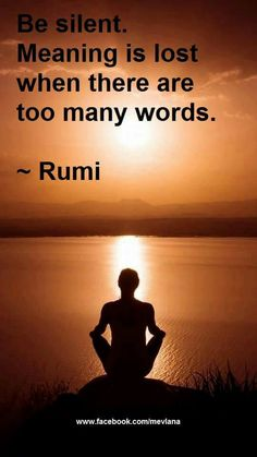 Be silent..  meaning is lost when there are to many words..  Rumi