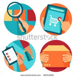Vector internet shopping icons in flat style - search, order, pay, deliver - stock vector