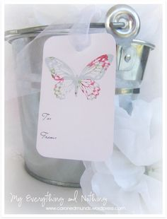 Vintage Butterfly Gift Tag Blue free printables...so sweet