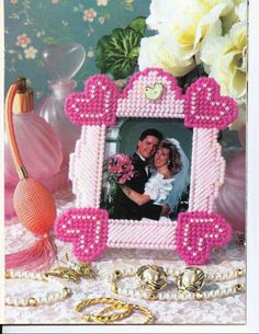 Plastic Canvas Letters, Plastic Canvas Coasters, Plastic Canvas Ornaments, Plastic Canvas Crafts, Canvas Picture Frames, Canvas Frame, Pc Photo, Ribbon Candy, Summer Scenes