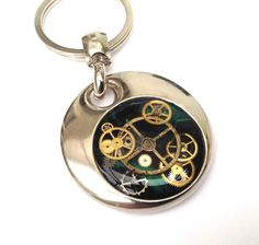 Steampunk personalised handmade & painted resin set real cogs keyring gift by ResinHead on Etsy