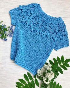 Crochet Summer Tops, Crochet For Kids, Crochet Baby, Knit Crochet, Crochet Turban, Crochet Blouse, Crochet Wrap Pattern, Crochet Patterns, Crochet Fashion