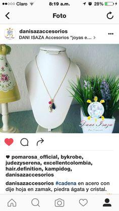 """#cadena en acero con dije hoja en zamak, piedra ágata y cristal. colección  Verano 2016 """"RESPLANDOR"""" ☀️ #diseñosunicos #diseñosexclusivos  Ref: CJ-HJGCRIS 14.000 mil pesos domicilio GRATIS en Cali ✨ envíos Nacionales.  envíos internacionales. ✈️Panamá Ventas +507 66844002 whatsapp +57 3105484392.  #yocomprocolombiano #cali #CaliCo #fashion #moda #accesorios #bisuteria #bisuteriafina #verano2016 #jewelry #joyas #verano #bogota #paris #panama"""