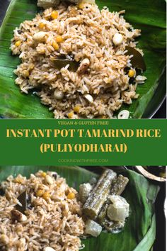 Instant pot Tamarind rice (Puliyodharai) - South Indian style quick and easy vegan tamarind rice flavored with tamarind, peanuts, coriander and cumin. Great for lunch box and travel  #cookingwithpree #instantpotrecipe #indianfood #vegetarianrecipe #pressurecookerrecipe #rice