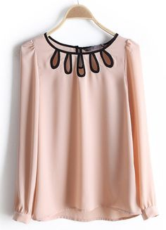 #SheInside Pink Round Neck Long Sleeve Hollow Chiffon Blouse