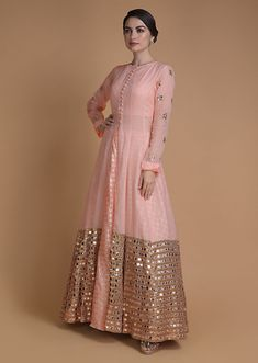 Buy Shrimp Peach Jacket Lehenga With Mirror Abla Work And Weaved Moroccan Pattern Online - Kalki Fashion Party Wear Indian Dresses, Designer Party Wear Dresses, Indian Gowns Dresses, Dress Indian Style, Indian Fashion Dresses, Indian Designer Outfits, Pakistani Dresses, Indian Outfits, Pakistani Fashion Party Wear