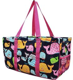 """Collapsible~23""""~Utility~Laundry~Diapers~Picnic~Shopping~Organize (WhalesPink Handles)"""