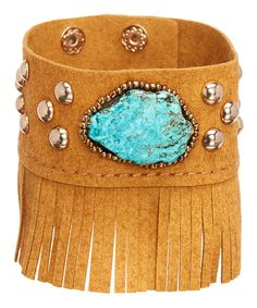 Look at this #zulilyfind! Turquoise & Brown Faux Suede Tassel Bracelet by Oori Trading #zulilyfinds