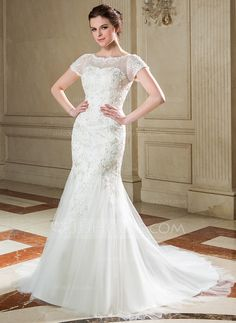 Wedding Dresses - $194.49 - Trumpet/Mermaid Scoop Neck Court Train Tulle Wedding Dress With Lace Sequins (002040677) http://jjshouse.com/Trumpet-Mermaid-Scoop-Neck-Court-Train-Tulle-Wedding-Dress-With-Lace-Sequins-002040677-g40677