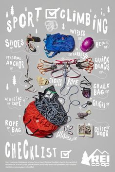 Don't forget your climbing gear at home. Use our Sport Climbing Checklist to head to the crag with all the essentials, including a rope, harness, helmet, shoes, belay device and quickdraws. Click the pin to see a complete checklist.