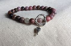 Rhodonite hearts bracelet Reiki Charged Yoga by EnergyBliss