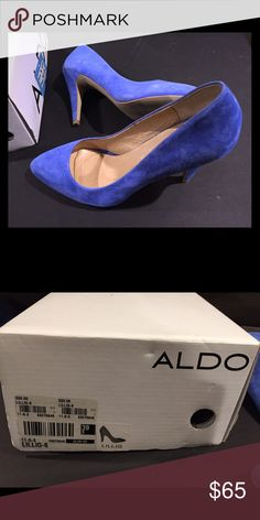 Beautiful blue cobalt suede pumps Adds a pop of color to any outfit! Looks great dressed up or even casual with a pair of jeans. Only worn one time!! In brand new condition!! Aldo Shoes Heels
