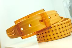 tie-ups Glam Pins Warm Sunrise. The first studded recyclable belt.  www.tie-ups.com