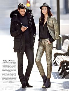 Zadig & Voltaire ON HER: Volta Dore Deluxe gold cotton jacquard jacket, $825. Tine BF black silk shirt, $350. Posh Dore Deluxe gold cotton jacquard pant. 36-38, $430. Alison black felt hat with chain. 1-2, $170. Selene cobra effect leather boot. 6-10, $610. ON HIM: Kotti fur-lined military coat in black. S-XL, $670. Gold ZE FD grey cashmere sweater. S-L, $285. Terak white cotton t-shirt. S-XL, $90. Platine Destroy black cotton pant. 29-34, $235. Chelsea black suede boot. 7-10, $335…