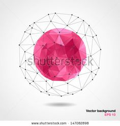 Abstract geometric pink spherical shape from triangular faces for graphic design.Vector illustration EPS10. by Happy_Soul, via Shutterstock