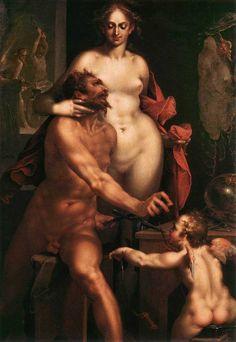 Bartholomeus Spranger - Venus in Vulcan's Forge. Tags: venus, afrodite, aphrodite, vulcan, hephaestus, hefaistos,