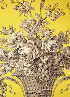 Biltmore Wallpaper An elegant toile wallpaper in black on yellow.