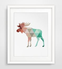 Coral & Mint Moose Print, Moose Antlers Wall Art, Wall Antlers, Coral and Mint Colors, Moose Wall Art, Moose Print, Triangle Geometric Art